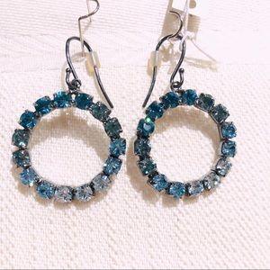NWT Coach Blue Rhinestone Circle Earrings